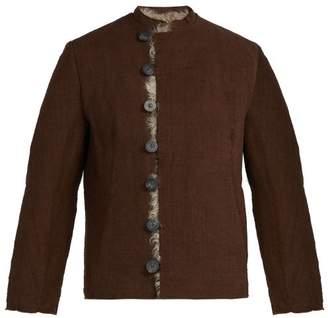 By Walid - Baldwin Shearling Lined Linen Jacket - Mens - Brown