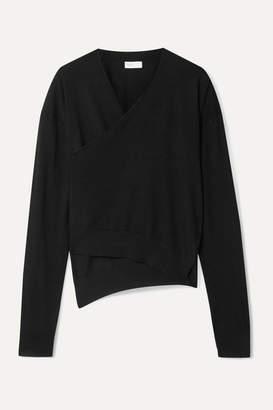 Rosetta Getty Asymmetric Wrap-effect Merino Wool Sweater - Black