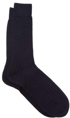 Sunspel Ribbed Merino Wool Socks - Mens - Navy