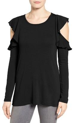 Women's Pleione Ruffle Cold Shoulder Top $49 thestylecure.com