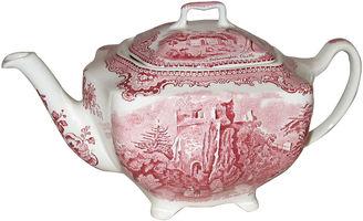 Red & White Ironstone Teapot