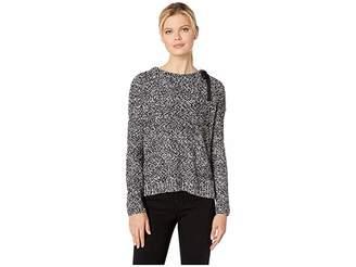Lilla P Tie Neck Pullover Pompom Yarn Sweater