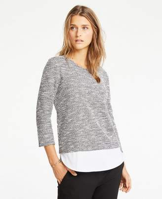 Ann Taylor Petite Mixed Media Tweed Knit Top