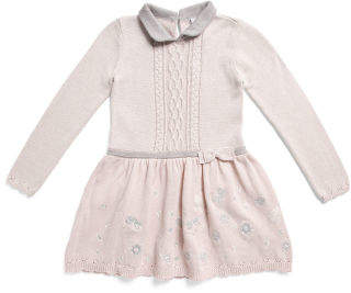 Little Girls Peter Pan Collar Cable Sweater Dress