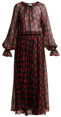 Raquel Diniz - Kate Floral Print Silk Gown - Womens - Black Red