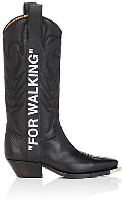 """Off-White Women's """"For Walking"""" Leather Knee Boots - Black"""