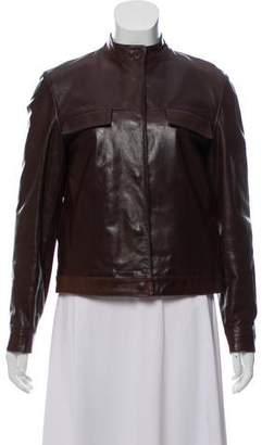 Miu Miu Leather Collarless Jacket