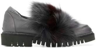 Lorena Antoniazzi fur embellished loafers