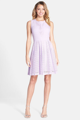 Betsey Johnson Cutout Eyelet Lace Fit & Flare Dress $158 thestylecure.com