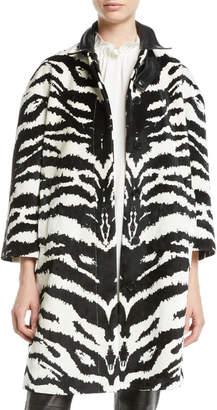 Alexander McQueen Button-Front Zebra-Print Velvet Jacquard Caban Jacket