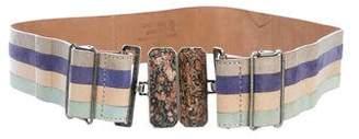 Fendi Striped Leather Belt