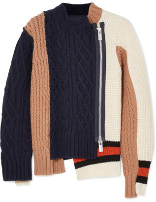 Sacai Color-block Paneled Wool-blend Cardigan - Navy