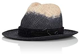 CA4LA Men's Dip-Dyed Straw Fedora-Black