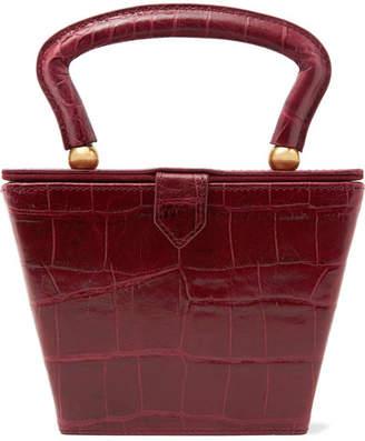 STAUD Sadie Croc-effect Leather Tote - Burgundy