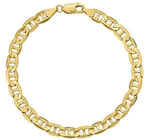 """QVC 14K Gold 9"""" Men's Concave Anchor Bracelet, 16.7g"""
