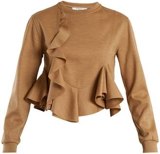Givenchy Ruffled-hem wool-jersey sweatshirt