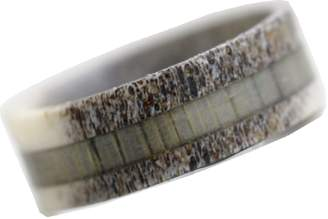Hunter KingswayJewelry Natural Deer Antler Ring with Grey Koa Wood Inlay - Unisex Deer Mens Womens Wedding Engagement Band