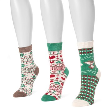 Muk Luks Women's 3-pk. Printed Crew Socks