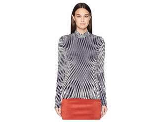 Sonia Rykiel Saint Germain Velours Polka Dot Crew Neck Sweater