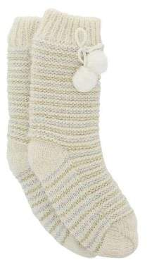 totes Striped Sherpa-Trimmed Slipper Socks