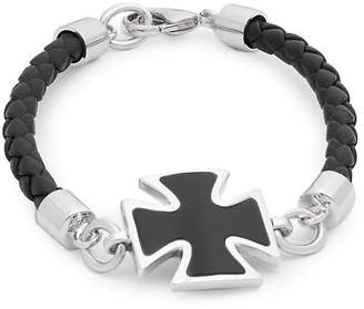 Effy Men's Onyx, Sterling Silver and Leather Cross Bracelet