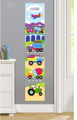 Olive Kids Trains, Planes and Trucks Personalized Peel and Stick Growth Chart