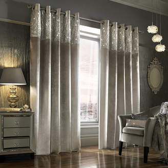 Kylie Minogue At Home at Home - Esta Lined Eyelet Curtains - Silver - 168x137cm