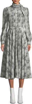 Co Balloon-Print Tie-Neck Long-Sleeve A-Line Midi Dress