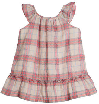 Burberry Taia Flutter-Sleeve Check Dress, Size 1-24 Months