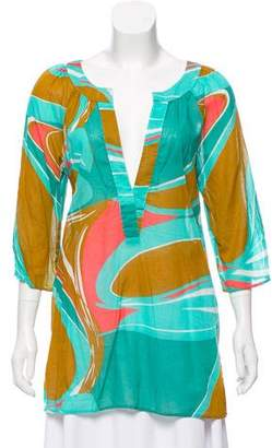 Tibi Printed Plunging Neck Tunic