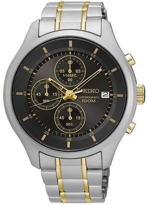 Seiko Men's 43mm Two Tone Steel Bracelet Steel Case Hardlex Crystal Quartz Black Dial Watch SKS543P1