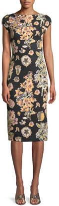 Theia Short-Sleeve Floral Decoupage Scuba Cocktail Dress