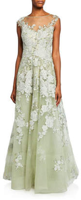 Rickie Freeman For Teri Jon High-Neck Cap-Sleeve Embellished Tulle Gown w/ Floral Lace Applique