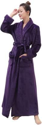 Artfasion Womens Long Flannel Bathrobe Soft Plush Microfiber Fleece Full Length Plus Size Sleepwear Robes for Ladies