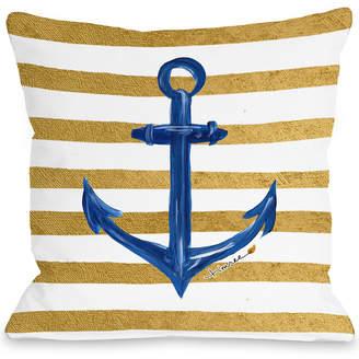 One Bella Casa Anchor Gold Stripes Indoor/Outdoor Pillow