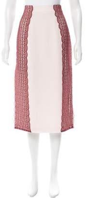Tanya Taylor Crochet-Paneled Simmons Skirt w/ Tags
