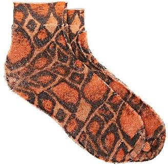 Maria La Rosa Women's Abstract-Animal-Print Cotton-Blend French Terry Socks - Orange