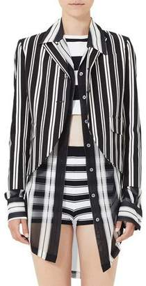 Marc Jacobs Striped 3/4-Sleeve Boyfriend Jacket