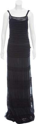 Alberta Ferretti Mesh-Paneled Sleeveless Dress Black Mesh-Paneled Sleeveless Dress