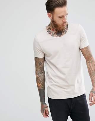 Asos Design T-Shirt With Scoop In Cream