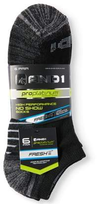 AND 1 And1 Mens Pro Platinum No Show Socks, 6 Pack