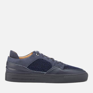 Men's Omega Quilted Velvet Low Top Trainers Navy