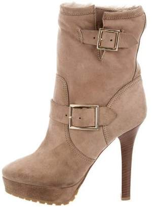 Jimmy Choo Platform Shearling-Lined Ankle Boots