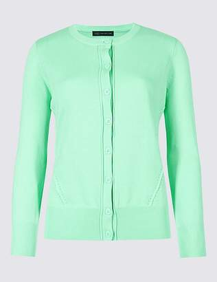 Marks and Spencer Pure Cotton Round Neck Long Sleeve Cardigan