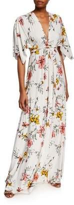 Rachel Pally Wildflower V-Neck Short-Sleeve Caftan Dress