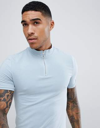 Asos Design DESIGN muscle fit zip turtle neck t-shirt with stretch in blue