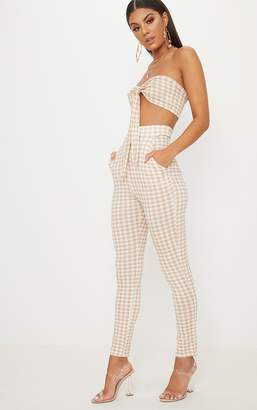 PrettyLittleThing Nude Gingham Skinny Trousers