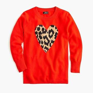 J.Crew Everyday cashmere crewneck sweater with leopard heart