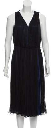 Sophie Theallet Pleated Silk Dress Blue Pleated Silk Dress