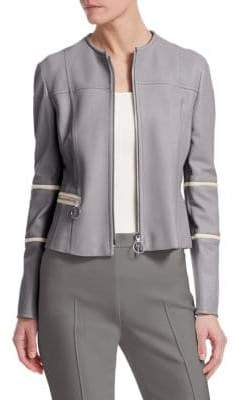 Akris Punto Nappa Leather Biker Jacket
